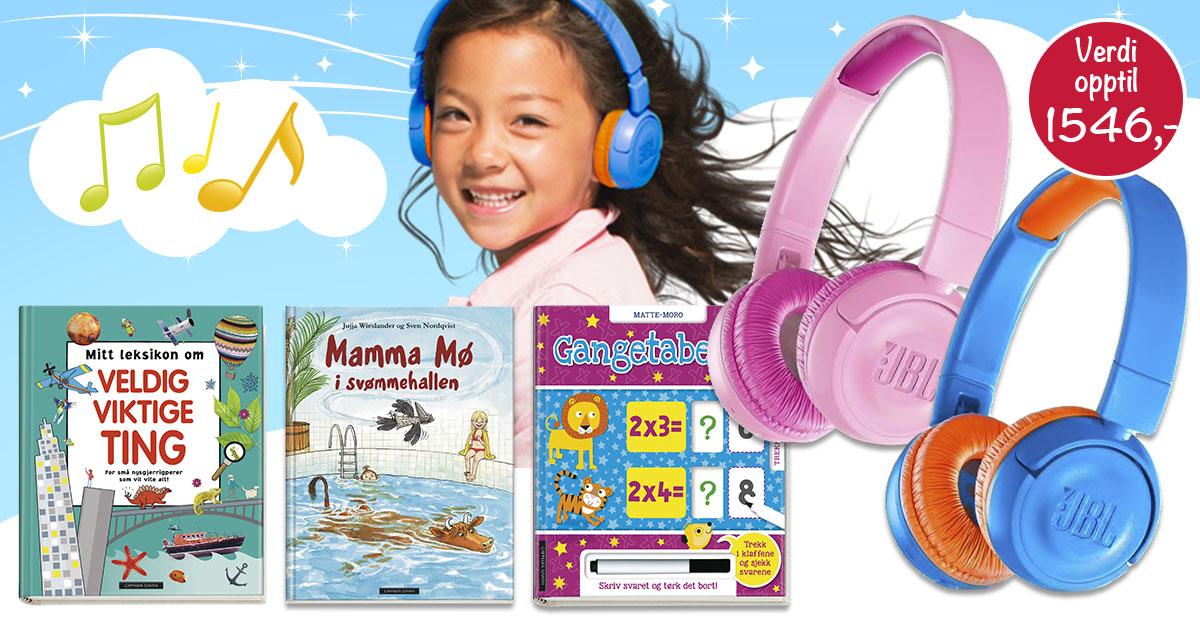 Barnas egen bokverden velkomstpakke jbl hodetelefoner 3 gratis bøker